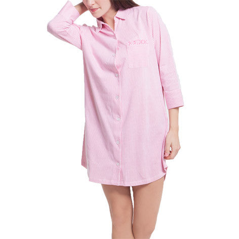 Papaya Stripe 3/4 Sleeve Sleepshirt