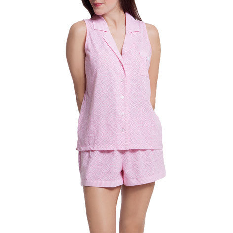 Pink Tropical Sleeveless PJ Short Set