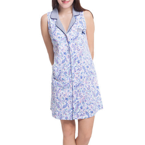 Water Paisley Sleeveless Sleepshirt