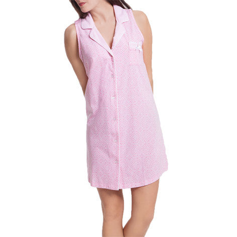 Pink Tropical Sleeveless Sleepshirt