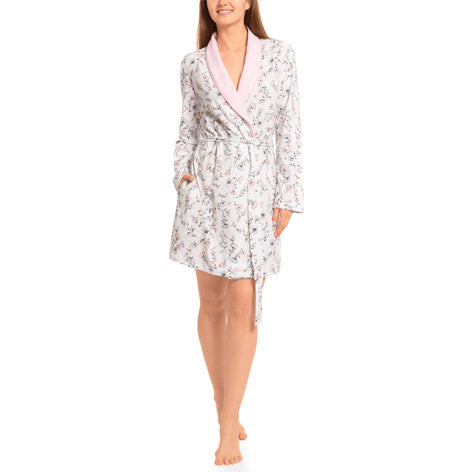 Robin Print Shawl Collar Robe