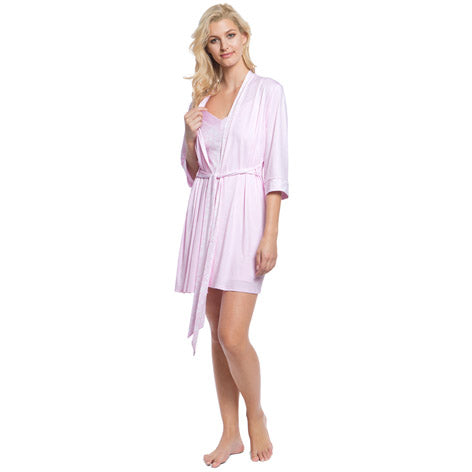 Mixed Material Robe & Chemise Set
