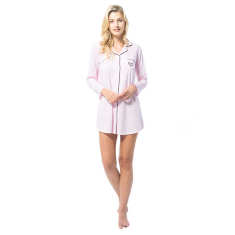 Pink Stripe Sleepshirt With Embroidered Pocket
