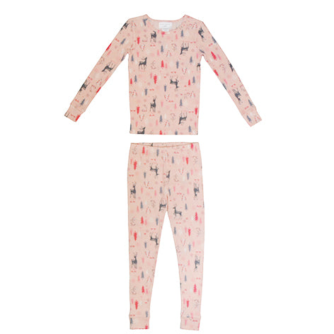 Girls Long Sleeve Sleep Set in Pink Bunny