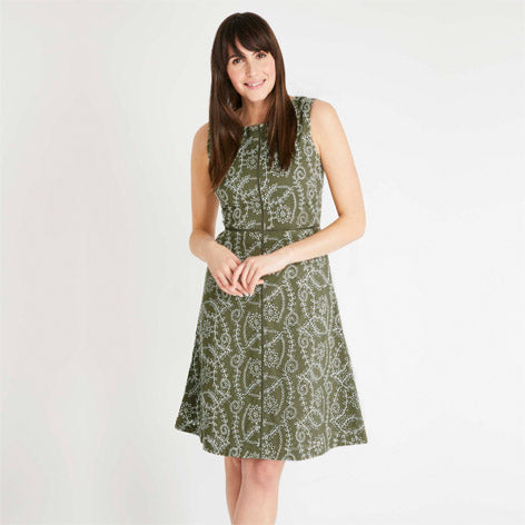 Kelp and Ivory Broderie Dress