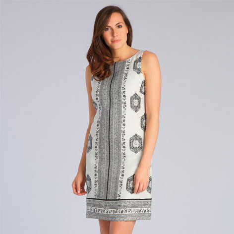 Woodblock Print Linen Shift Dress