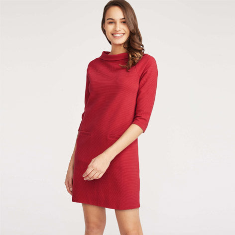 Red Ponte Bardot Neck Dress