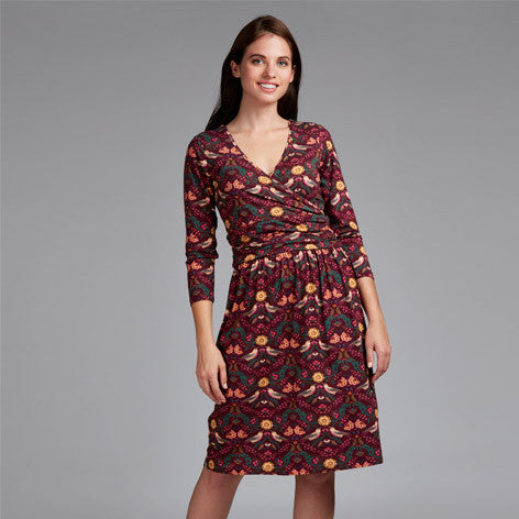 Floral Bird Print Jersey Wrap Dress
