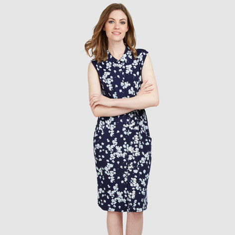 Sleeveless Water Floral Jersey Dress
