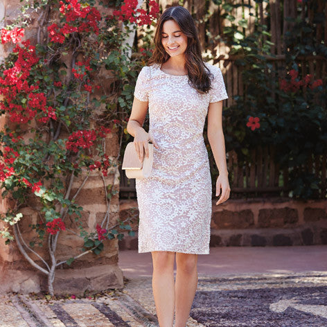 Floral Embellished A-Line Midi Dress