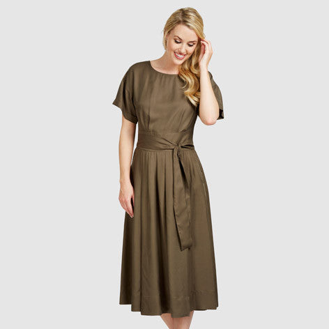 Pleated Fit and Flare Belted Midi Dress