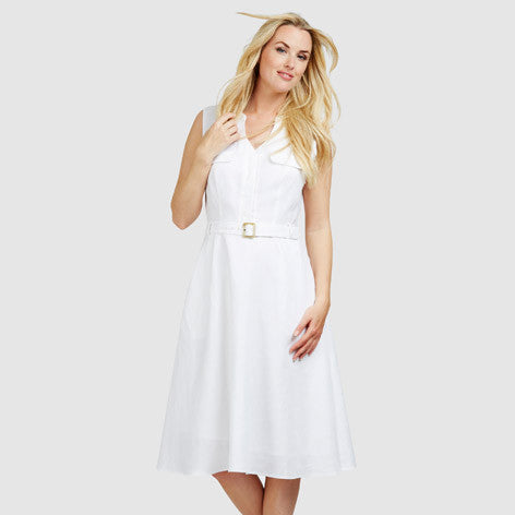 Belted Linen Fit and Flare Shirt Dress