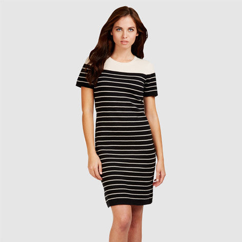 Elbow Sleeve Knitted Stripe Dress