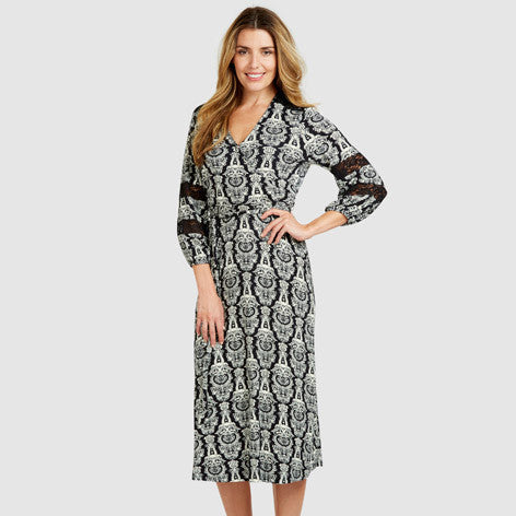 Heraldic Print Lace Detail Midi Wrap Dress