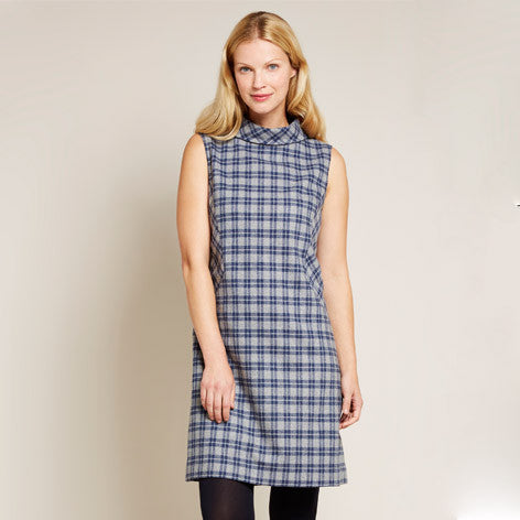 Roll Neck Sleeveless Plaid Swing Dress