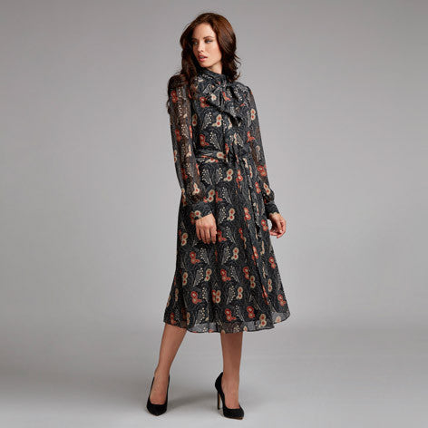 Tie Neck Nouveau Floral Midi Dress