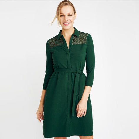 Lace Yoke Jersey Shirt Dress