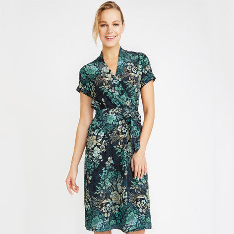 Woodblock Floral Wrap Front Dress