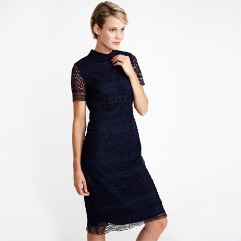 Navy Lace Dress With Collar