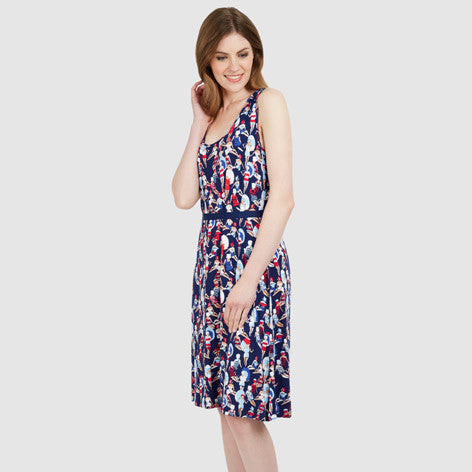 Sleeveless Bathers Print Jersey Dress
