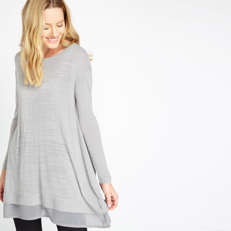 Knitted Tunic with Woven Hem