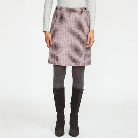 Pink British Wool Geo Print Skirt
