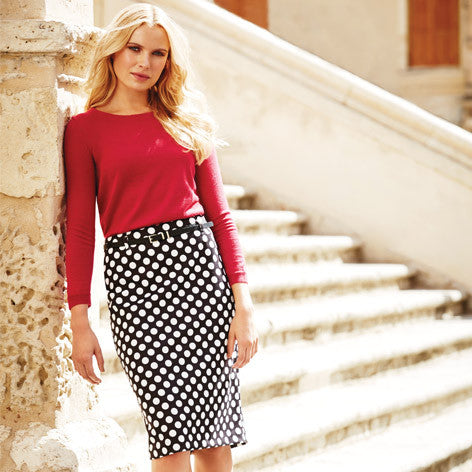 Belted Spot Printed Pencil Skirt