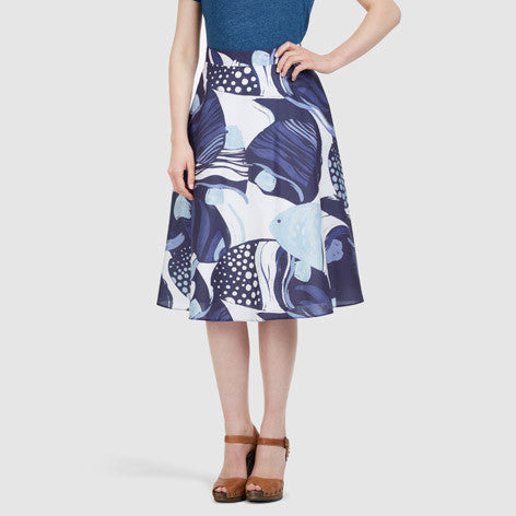 Fit & Flare Fish Print Midi Skirt