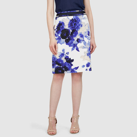 Floral Rose Ottoman Pencil Skirt