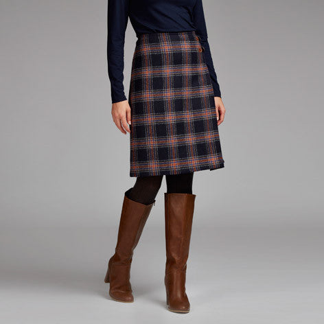 Moon British Wool Tab Detail Check Skirt