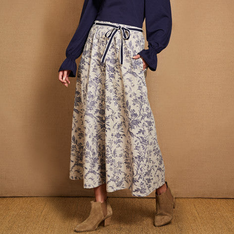 Button Front Floral Linen Skirt