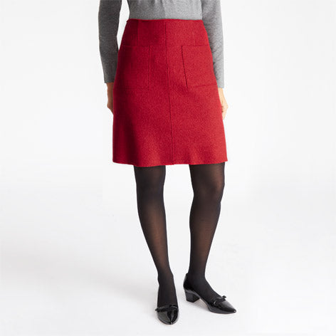 Red Boiled Wool Skirt
