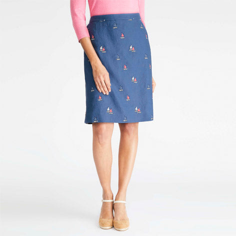 Embroidered Sail Boat Skirt