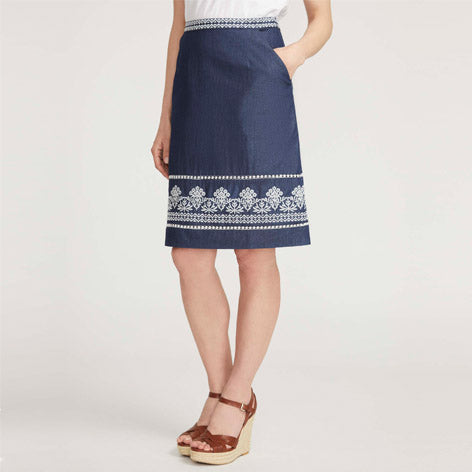 Embroidered Border Linen Skirt