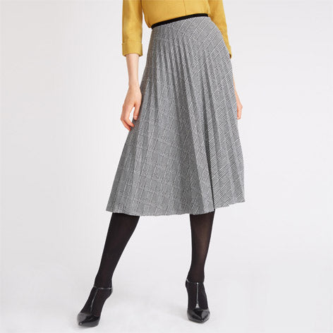 Long Pleated Checked Skirt