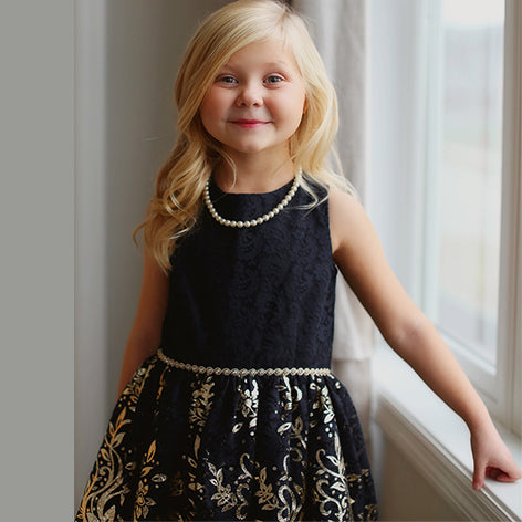 Gold Foil Border Print Toddler Dress