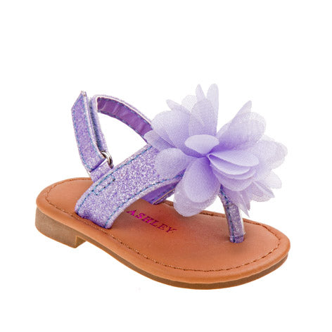 Meghan Purple Chiffon Flower Girls Sandal