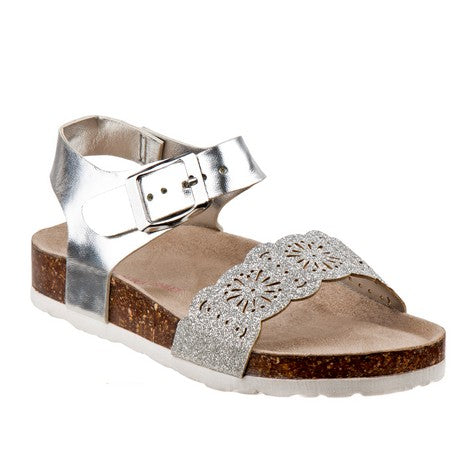 Laura Ashley Silver Glitter Cork lining Sandals for Toddler Girls