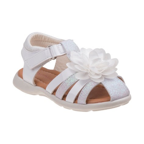 Laura Ashley White Flower Fisherman Sandals for Toddler Girls