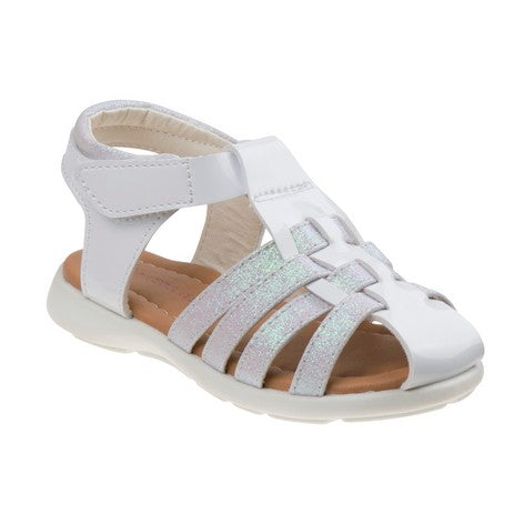 Laura Ashley White Glitter Fisherman Sandals for Toddler Girls