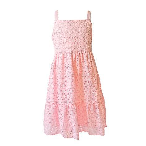 Soft Pink Eyelet Tier Dress