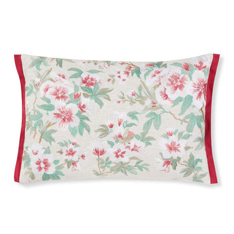 Rosamond Embroidered Cranberry Cushion