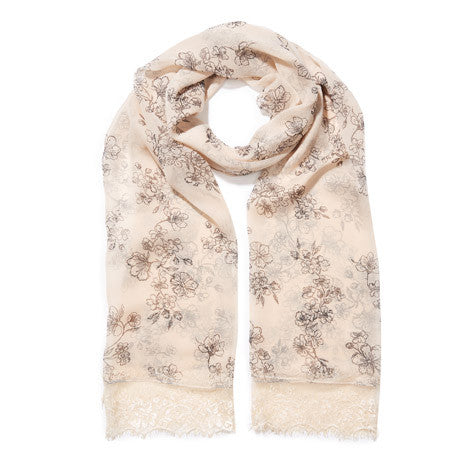 Sand Dunes Blossom Lace Trim Scarf