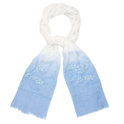 Embroidered Flower Ombre Scarf