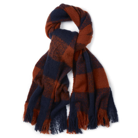 Oversized Navy and Orange Check Scarf