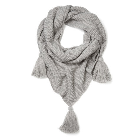 Grey Tassel Knit Triangle Scarf