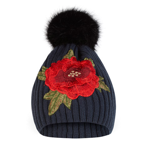 Rose Applique Knitted Rib Hat