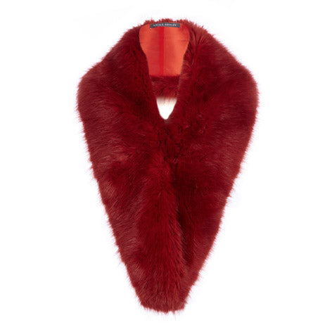 Red Lux Faux Fur Scarf