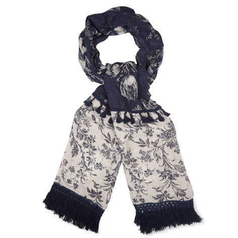 Tulip Print Fringed Linen Mix Scarf