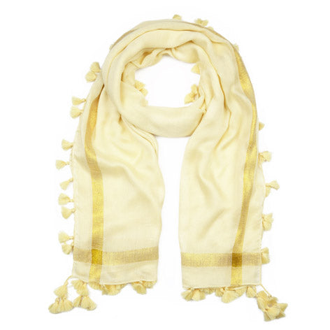 Yellow Tassel Trim Scarf